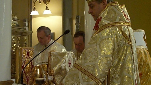 A Bishop reciting the Liturgy in a Greek Catholic Church in Slovakia.