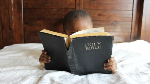 A little boy looking at a Bible.