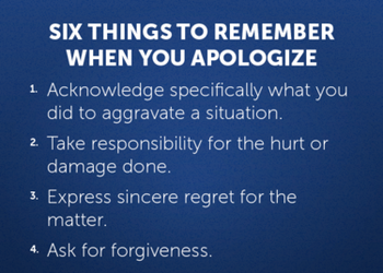 the power of apology Almost like magic, a genuine apology offered and accepted has the power to repair harm and to restore damaged relationships, be they on a small, intimate scale.